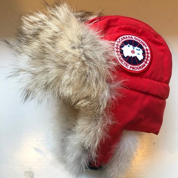 e632dc8475b Canada Goose Red Aviator Hat - S/M - Genuine Fur NWT